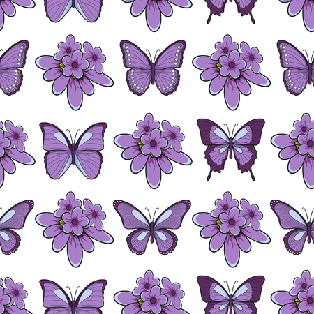 Seamless pattern with lavender flowers and butterflies. Isolated vector objects on white background.