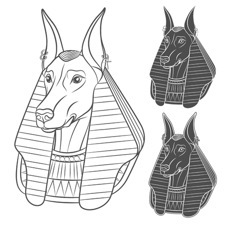 Set of black and white images with Anubis. Vector isolated objects on white background.