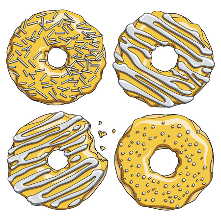Set of gold donuts with silver cream. Isolated objects on white background.