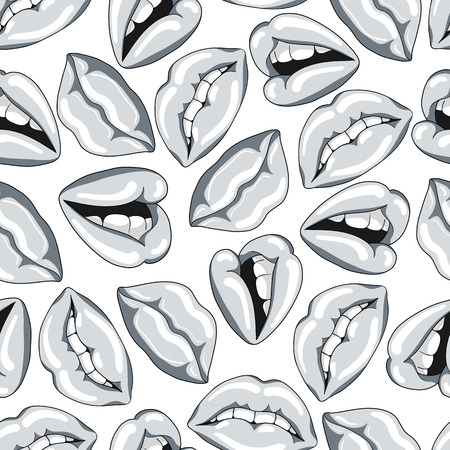 Seamless pattern with silver lips. Vector illustration. 向量圖像