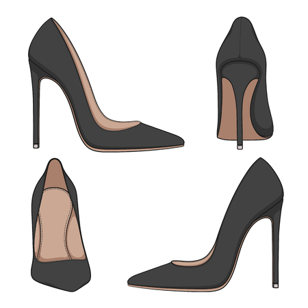 Female black classic shoes with heels. Set of vector color illustrations on a white background. 向量圖像