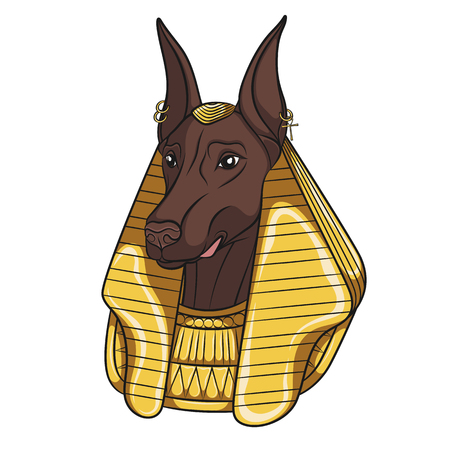 Color vector image Anubis. Isolated object on white background.