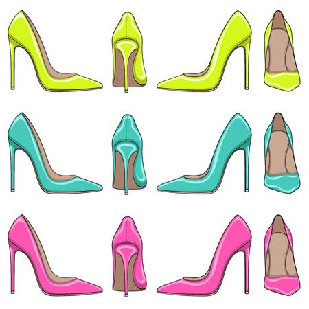 Zestaw jasne iluminacje kolorów klasycznych butów damskich na wysokich obcasach. Pojedyncze obiekty na białym tle. Ilustracje wektorowe