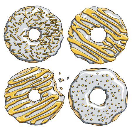 Set of silver donuts with a gold cream. Isolated vector objects on white background.