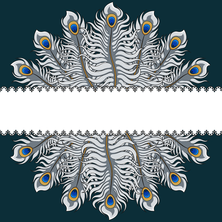 Postcard with silver peacock feathers and ribbon. Vector illustration with place for inscription. Illustration