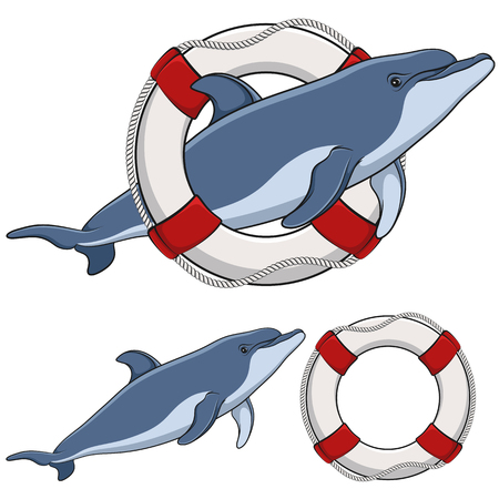 Set of color illustrations with a dolphin and a life buoy. Isolated objects on white background.
