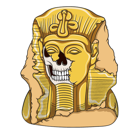 Ancient pharaoh statue of a skull. Color vector illustration on a white background.