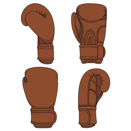 Set of illustrations with brown leather boxing gloves. Isolated vector objects on white.