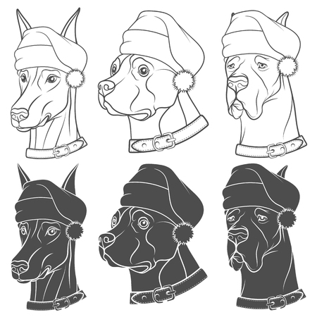 Set of black and white illustrations with dogs in Christmas hats. Isolated vector objects on white background.