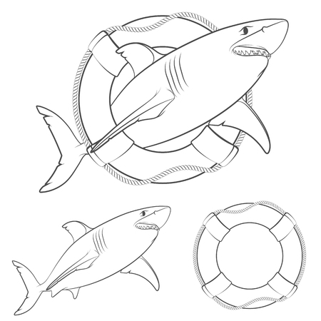Set of black and white illustrations of sharks in the lifeline