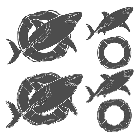 Set of black and white illustrations shark in the lifeline. Isolated vector objects on white background. Illustration
