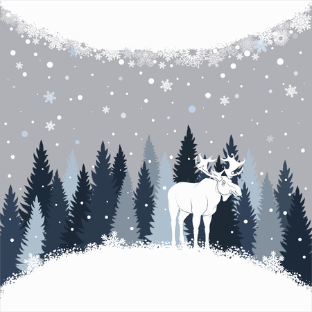 Card with elk on the forest background and snow. Winter vector background with place for inscription.