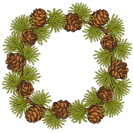 Color illustration, frame made of branches and cones of larch. Isolated vector object on white background.