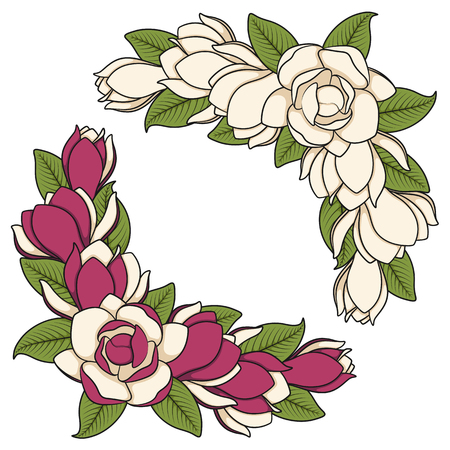 Set of colored illustration of flowering magnolia branches.