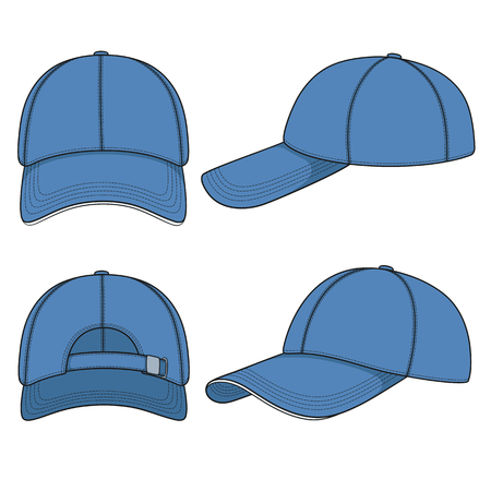 Set of color illustrations with a blue baseball cap. Isolated vector objects on white background. Çizim