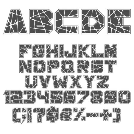 Black and white alphabet, numbers and signs. Isolated vector objects on white background.