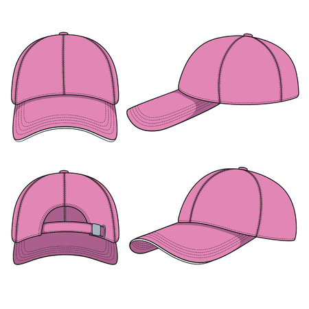 Set of color illustrations with a pink baseball cap. Isolated vector objects on white background. Vettoriali