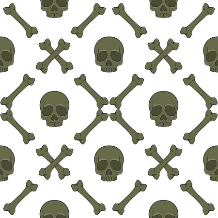 Set of seamless patterns with skull and bones. Vector colored backgrounds on white.