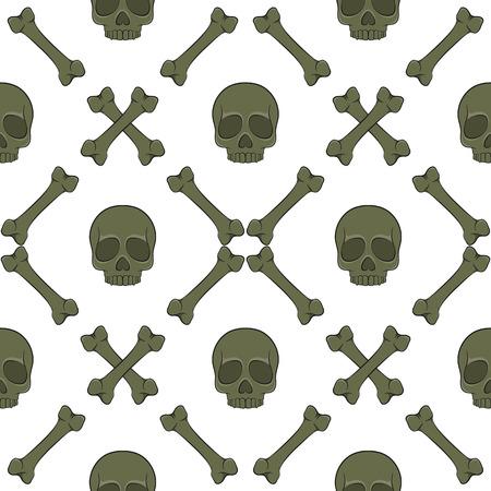 Satz nahtlose Muster mit Schädel und Knochen. Vektorfarbene Hintergründe auf Weiß.