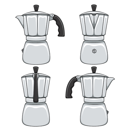 Set of color illustrations of geyser coffee makers. Isolated vector objects on white background. Иллюстрация
