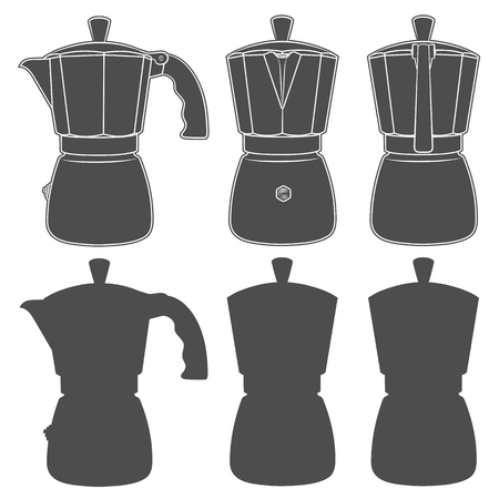 Set of black and white illustrations of geyser coffee makers. Isolated vector objects on white background.