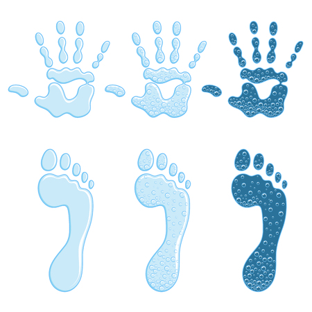 Set of color illustrations with a footprint and a handprint. Isolated vector objects on white background. Vecteurs