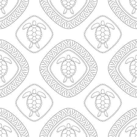 Patrón sin fisuras con tortugas y símbolos polinesios. Ilustración de vector. Ilustración de vector