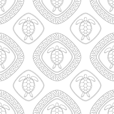 Seamless pattern with turtle and polynesian symbols. Vector illustration.