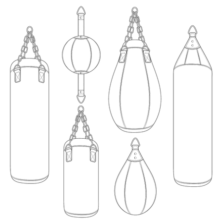 Set of black and white illustrations with punching bag, boxing pears. Isolated vector objects on white background. Vetores