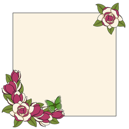 Frame with magnolia flowers and a butterfly. Isolated vector objects on a white background. Archivio Fotografico - 110861264