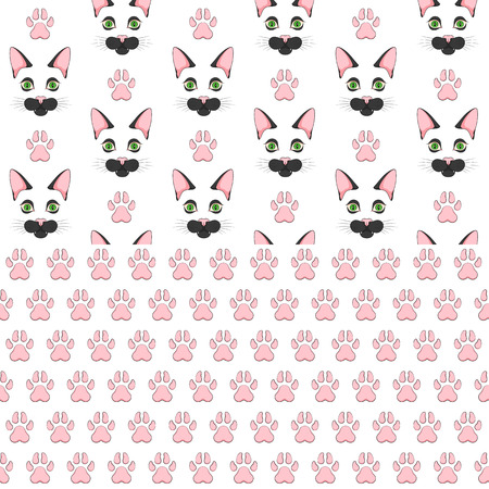 Set of seamless patterns with black cat face and paw prints. Colored vector backgrounds on a white background. Иллюстрация