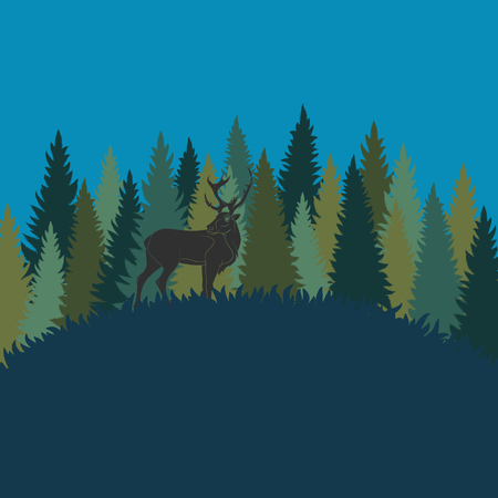 Forest landscape with deer and forest of firs. Vector color background.