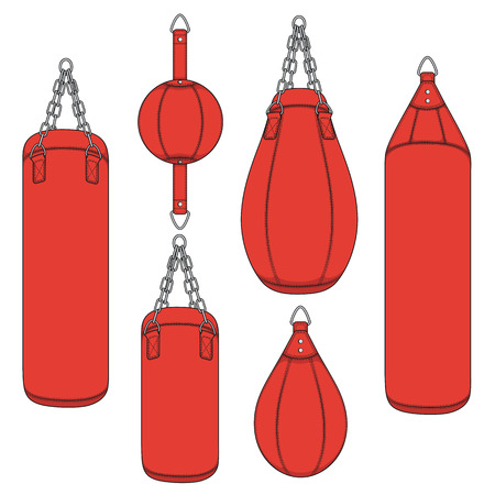 Set of color illustrations with a red punching bag, boxing pears. Isolated vector objects on white background.