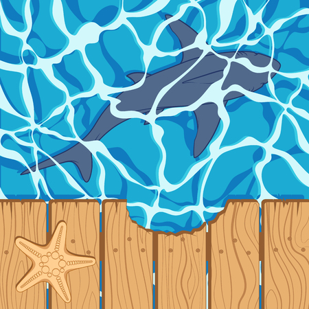 Marine color background with great white shark and starfish. Summer vector beach background.