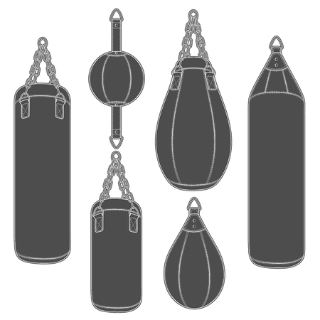 Set of black and white illustrations with punching bag, boxing pears. Isolated vector objects on white background.