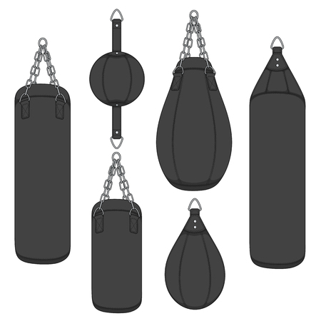 Set of color illustrations with black punching bag, boxing pears. Isolated vector objects on white background.