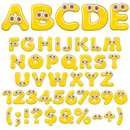Yellow jelly alphabet, letters, numbers and characters with eyes. Isolated colored vector objects on white background.