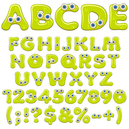 Jelly alphabet, letters, numbers and characters with blue eyes. Isolated colored vector objects on white background.