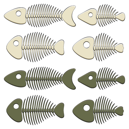 Set of color illustrations with fish skeletons. Isolated vector objects on white background. Иллюстрация