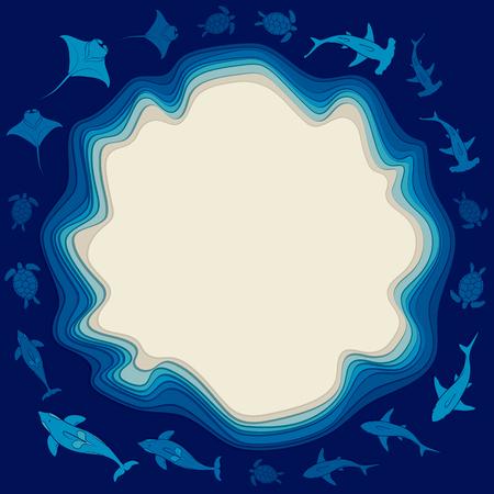 Meereshintergrund mit Wasserschichten, Insel- und Meerestieren. Vektor farbiger Hintergrund mit Platz für Text.