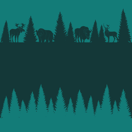 Background of silhouettes of wild animals and trees. Vector illustration. Ilustrace