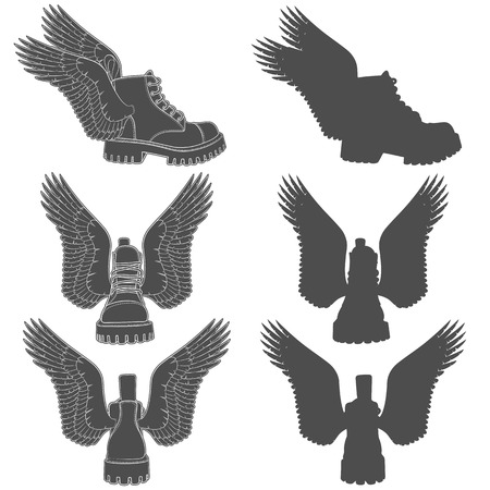 Set of black and white illustrations of boots with wings. Isolated vector objects on white background.