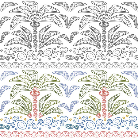 Set of abstract seamless patterns with palms and waves. Tropical vector backgrounds in polynesia style.