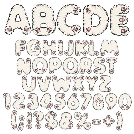 Fluffy white alphabet, letters, numbers and signs with pink paws. Set of isolated vector objects on white background. 일러스트
