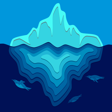 Illustration with iceberg and penguins swimming underwater. Vector background.