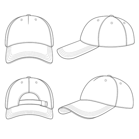 Set of black and white illustrations with a baseball cap. Isolated vector objects on white background.