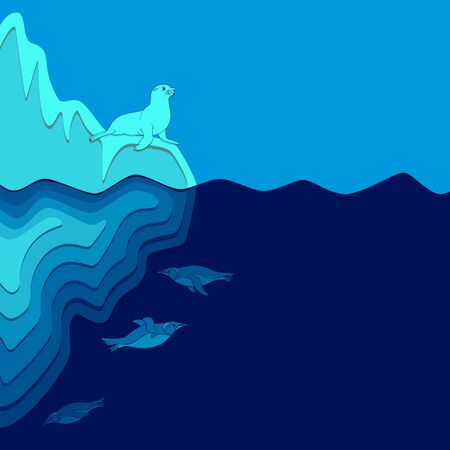 Illustration with iceberg, fur seal and penguins. Vector colored background with place for text.