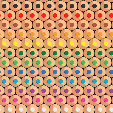 Seamless pattern with rows of colored pencils. Vector colored background. Vector Illustratie