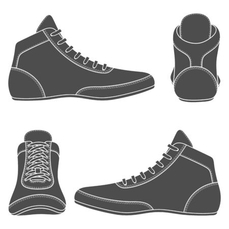 Set of black and white illustrations with wrestling shoes, sports shoes. Isolated vector objects on a white background.