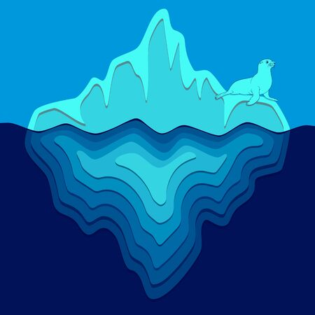Illustration with iceberg and fur seal. Vector colored background.